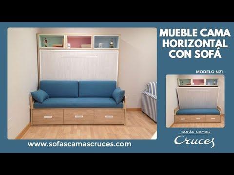 Mueble cama de matrimonio de apertura horizontal con sofá