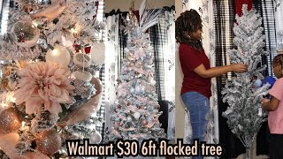 Walmart $30 6ft flocked tree review + Christmas decor in apartment | #vlogmas2020 day 1
