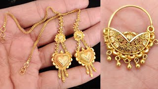 Gold Earrings Designs With Weight || Latest Bridal Gold Nose Pin-Nathiya Designs 2020