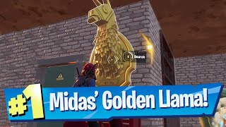 Search Midas' Golden Llama between a Junk Yard, Gas Station and an RV Campsite Location - Fortnite