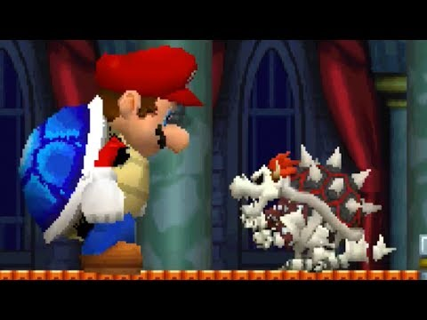 New Super Mario Bros DS - All Castle Bosses with Giant Blue Shell Mario