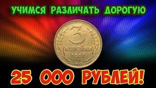 Стоимость редких монет. Как распознать дорогие монеты СССР достоинством 3 копейки 1957 года