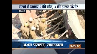 Five dead after four-storey building collapses near Sawan Park in Delhi, relief work under process