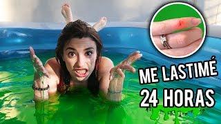 24 HORAS EN UNA PISCINA DE SLIME GIGANTE | ME LASTIMÉ | Lyna Vlogs