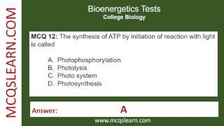 Bioenergetics Tests - MCQsLearn Free Videos