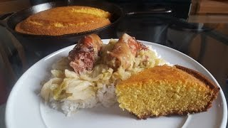 How to cook Smothered Cabbage and Cast Iron Skillet Cornbread from scratch