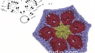 How To Crochet The Hexagon For The Blanket In DROPS 173-24