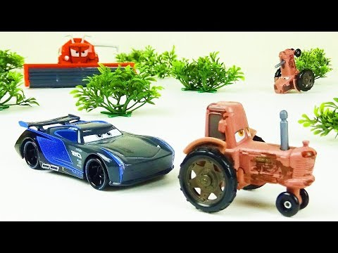 Jackson Storm Goes Tractor Tipping! Stop Motion Animation Disney Cars 3 Toys Fun Video For Kids