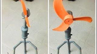SÁNG TẠO VỚI ỐNG NHỰA PVC. Chế Quạt Cây 12v Chạy Pin Dùng Khi Mất Điện.
