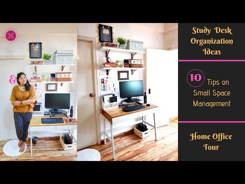 10 Study Table Organization Ideas & Decor Tips / Small Space Desk Organization / Home Office Tour