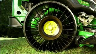 The new MICHELIN® X® TWEEL® TURF exclusively on John Deere ZTrak™ 900 Series Mowers