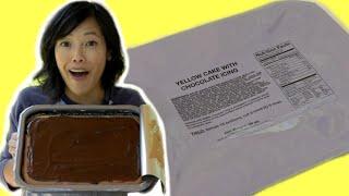GIANT MRE Cake? | UGR Unitized Group Ration | Yellow Cake & Chocolate Icing + Carrot Cake |