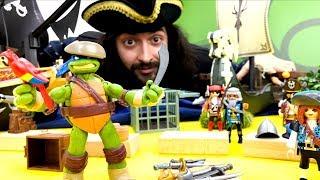Черепашки Ниндзя: Леонардо и пиратский корабль. Видео для детей.