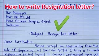 Resignation letter | how to write resignation letter | Resignation letter in english