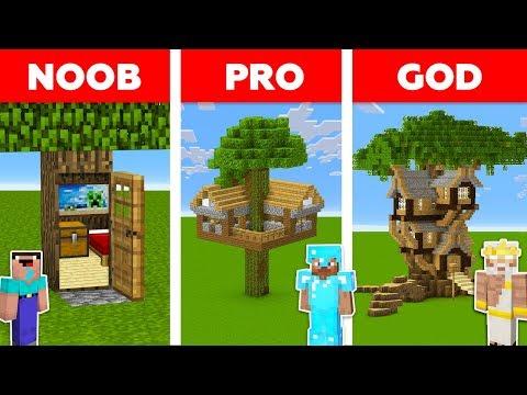 Minecraft HIDDEN TREE HOUSE CHALLENGE 🏡🌳 / Noob vs Pro vs God in Minecraft