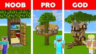 Minecraft NOOB vs PRO vs GOD : TREE HOUSE CHALLENGE in minecraft / Animation