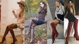 Latest Ladies Stylish Long High Heel Leather Latex Boots Ideas| Latest Ladies Long Shoes Designs