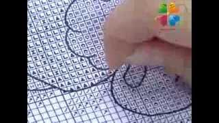 Смотреть онлайн Как шить крестиком по схеме, урок для новичков