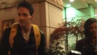 "Джонатан Рис-Майерс, 	 JONATHAN RHYS MEYERS GREETS FANS IN TORONTO: FILMING ""MORTAL INSTRUMENTS"""