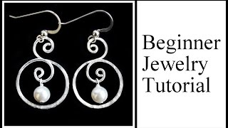 Easy Jewelry Tutorial : Double Hoop Swirl With Pearl Dangle Earrings