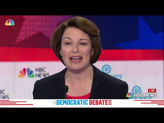 Democratic Debate Amy Klobuchar That S What We Call At Home All Foam And No Beer Nbc New York