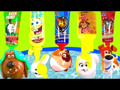 The Secret Life of Pets Bubble Bath with Toy Surprises & Paw Patrol Spongebob Bath Paint!