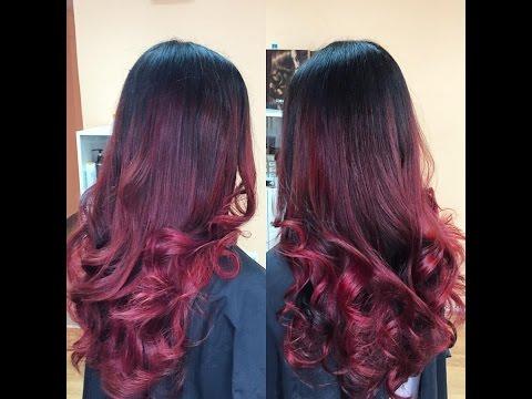 Омбре | красные оттенки на тёмных волосах