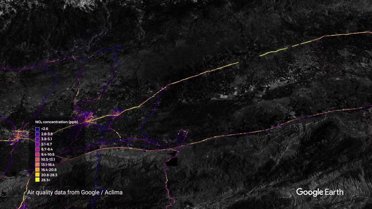 Air quality measurements in California's Central Valley region (Landsat / Copernicus, Data MBARI, Data SIO, NOAA, U.S. Navy, NGA, GEBCO, Data LDEO-Columbia, NSF, Data CSUMB SFML, CA OPC, Data USGS)