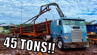 Log Trucking with a Cabover! Blue Collar Gets put to Work!!!