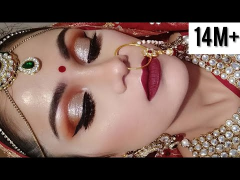 Indian BRIDAL MAKEUP Tutorial In HINDI DAY TIME Shimmery Eyes