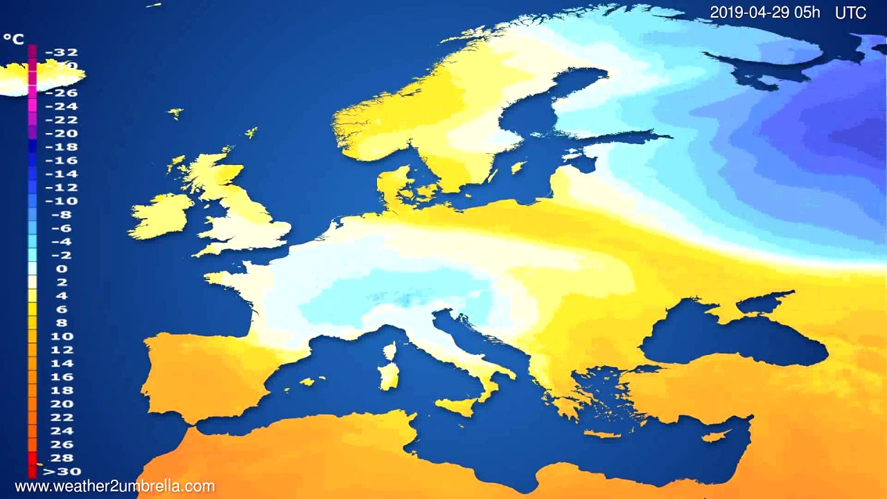 Temperature forecast Europe // modelrun: 00h UTC 2019-04-27