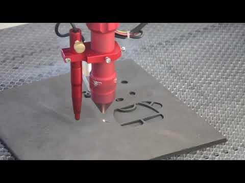 Cięcie gumy ~8mm przy użyciu lasera Co2 seria C | Thick Rubber ~8mm cutting using Co2 laser C series - zdjęcie