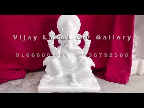 Pure White Marble Ganesh Bhagwan Statue