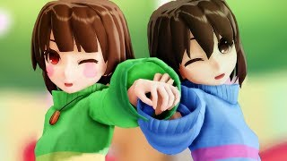 【MMD ♥ Undertale】Dive to Blue「Chara x Frisk」