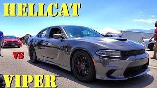 707 HP HELLCAT vs 645 HP VIPER !! - 1/2 Mile Drag Race - Which is Faster? Road Test TV by Road Test TV
