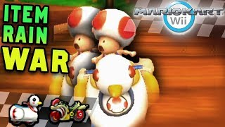 Mario Kart Wii Vehicle War: Flame Runner vs Quacker (Item Rain)