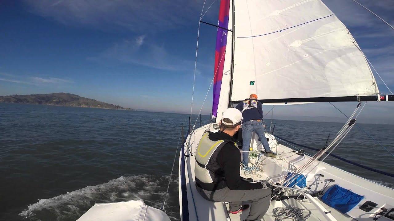 Spinnaker Practice J/88 San Francisco Bay