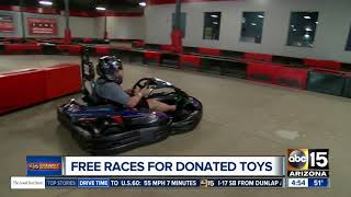 Get free indoor races for donating toys