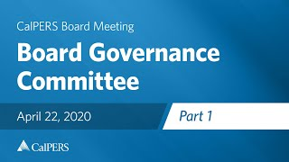 Board Governance Committee - Part 1 on April 22, 2020