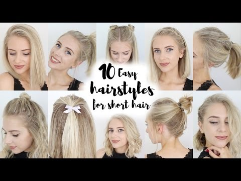 , title : '10 Easy Hairstyles for SHORT Hair'