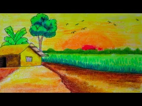 Easy Kids Riverside Village Scenery Nature Scenery Drawing By