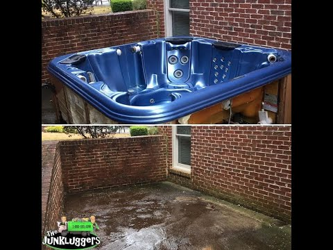 This customer in Marietta, Georgia was tired of looking at this old/broken hot tub so we removed it for them!
