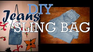 RECYCLED SLING BAG IDEA OUT OF OLD JEANS | DIY