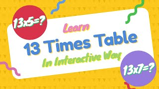 13 Times Table Quiz | Learn 13 Multiplication Table