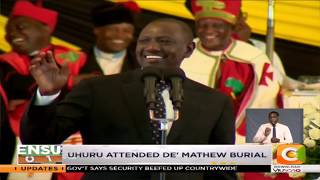 Politics takes center stage at John De Mathew's burial