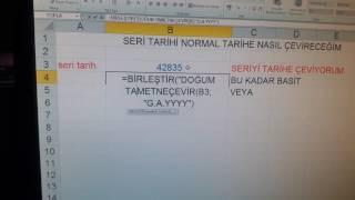 Excel sayı/seri tarih normal tarihe çevirme.
