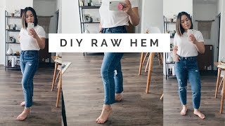 DIY RAW HEM || Frayed Jeans 👖