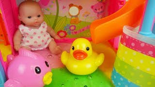 Baby doll water slime slide and bath surprise eggs toys play