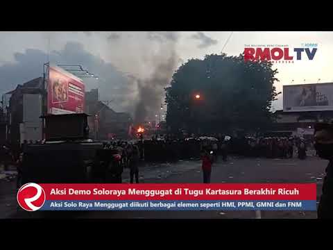 Aksi Demo Soloraya Menggugat di Tugu Kartasura Berakhir Ricuh