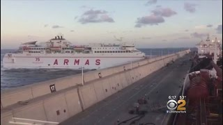 Caught On Camera: Ferry Slams Into Dock In Spain